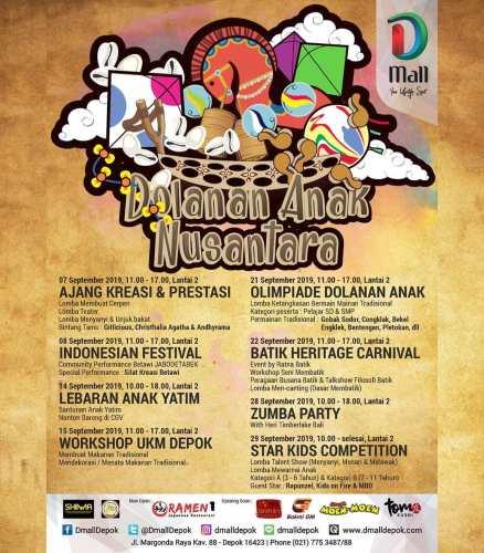 Agenda Kegiatan Event Dmall Depok September 2019 Dolanan Anak Nusantara