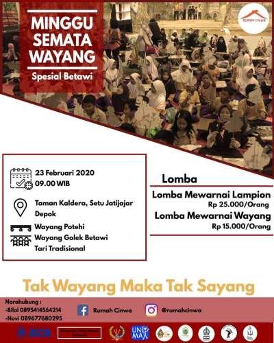 Minggu Semata Wayang Spesial Betawi di Taman Kaldera Setu Jatijajar Depok 23 Februari 2020