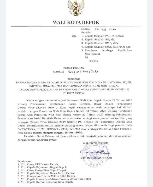 Surat Edaran Walikota Depok Terkait Perpanjangan Masa Belajar Di Rumah Bagi Peserta Didik sd 18 Juni 2020