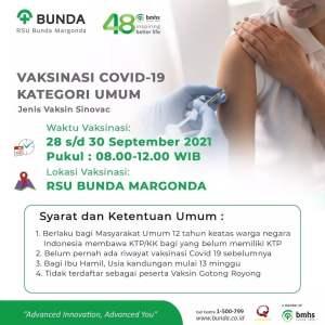 Vaksinasi di RSU Bunda Margonda Depok 28-30 September 2021