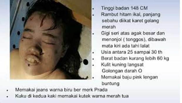 Inilah famlet atau poster tentang ciri-ciri wanita muda tanpa yang ditemukan mengambang di Kali Ciliwung Minggu (24/7/2016) pagi.