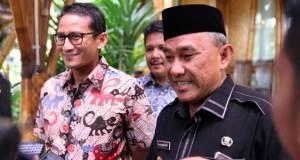 Wakil Gubernur DKI terpilih Sandiaga Uno bertemu Walikota Depok Mohammad Idris di Cibubur.