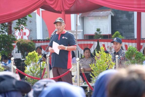 Walikota Depok Mohammad Idris memberikan sambutan pada acara HUT PMI ke 72 Tahun tingkat Kota Depok.