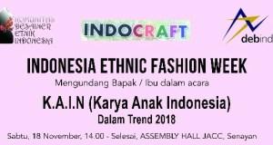 Komunitas Ethnic Indonesia bersama Debindo menggelar acara Indonesia Ethnic Fashion di JCC Senayan Jakarta. Surabaya
