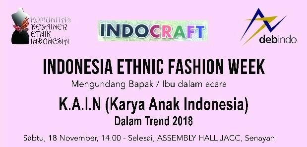 Komunitas Disainer Ethnic Indonesia bersama Debindo menggelar acara Indonesia Ethnic Fashion di JCC Senayan Jakarta. Surabaya