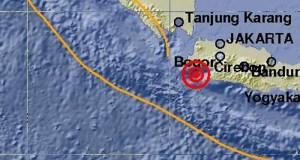Pusat gempa 81 km barat daya Kabupaten Lebak. Banten.