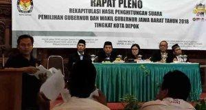 KPUD Kota Depok melakukan rapat pleno rekapitulasi hasil Pilgub Jabar, Rabu (4/7/2018).