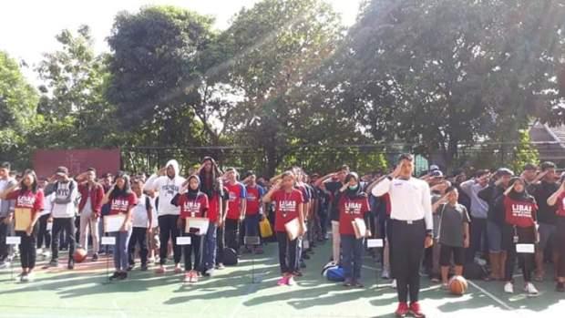 Peserta turnamen basket Libas in Action saat acara pembukaan.