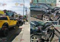 Dos pasajeras de camión urbano resultan lesionadas en fuerte choque en el centro de Colima