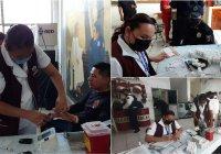 Elementos de seguridad pública de Tecoman se benefician en la campaña de salud comunitaria con el apoyo del equipo en salud (ECOS) del ISSSTE