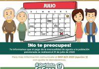IMSS informa a pensionados que el 31 de julio se realizará el pago correspondiente al mes de agosto