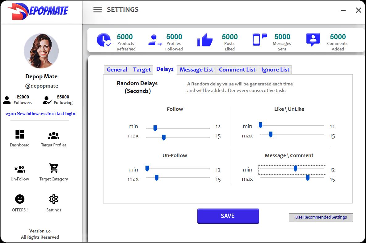 DepopMate Depop Bot Follow Configuration Screen