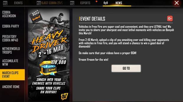 Evento de clips de marzo en Free Fire