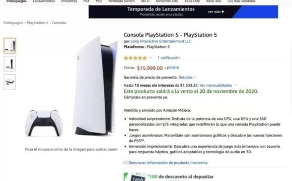 PS5: Amazon Mexico lists the PlayStation 5 at this price.  (Photo: Amazon)