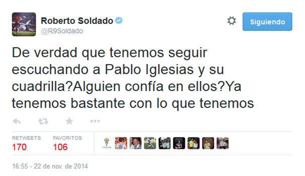 El futbolista Roberto Soldado causó un gran revuelo por un comentario partidista en política.