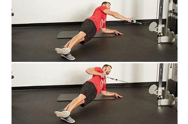 Extensión con un brazo en posición de plancha lateral con polea