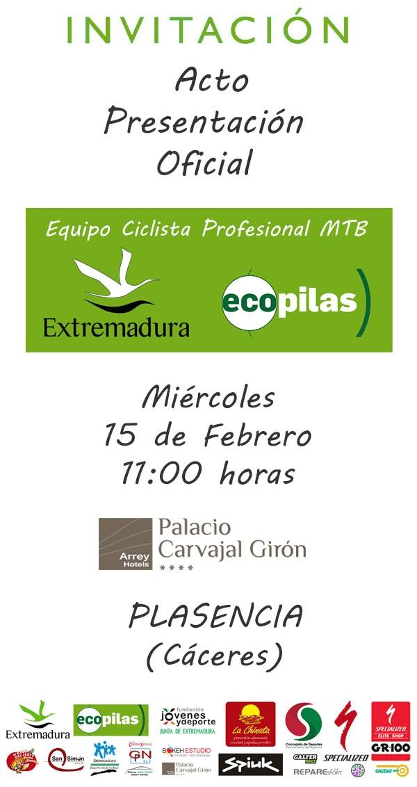 Invitación Presentacion Extremadura Ecopilas MTB Team