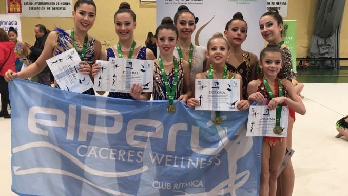 Seis medallas de ORO para el equipo Gimnasia Rítmica de el El Perú Cáceres Wellness en Mérida