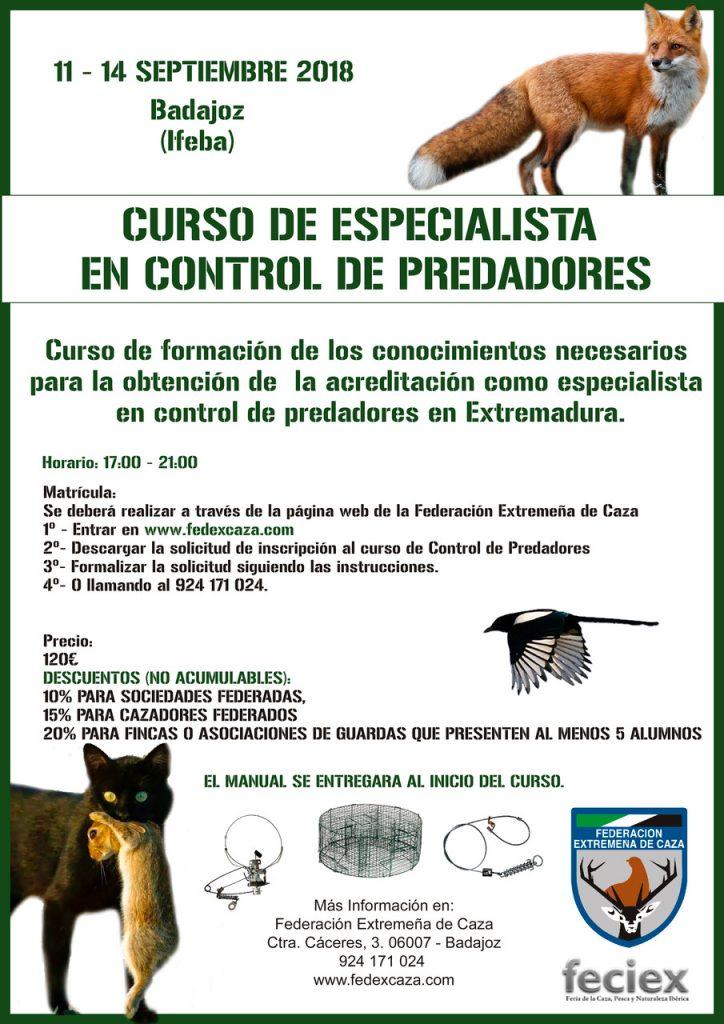 Badajoz acogerá en septiembre un curso de especialista en control de predadores