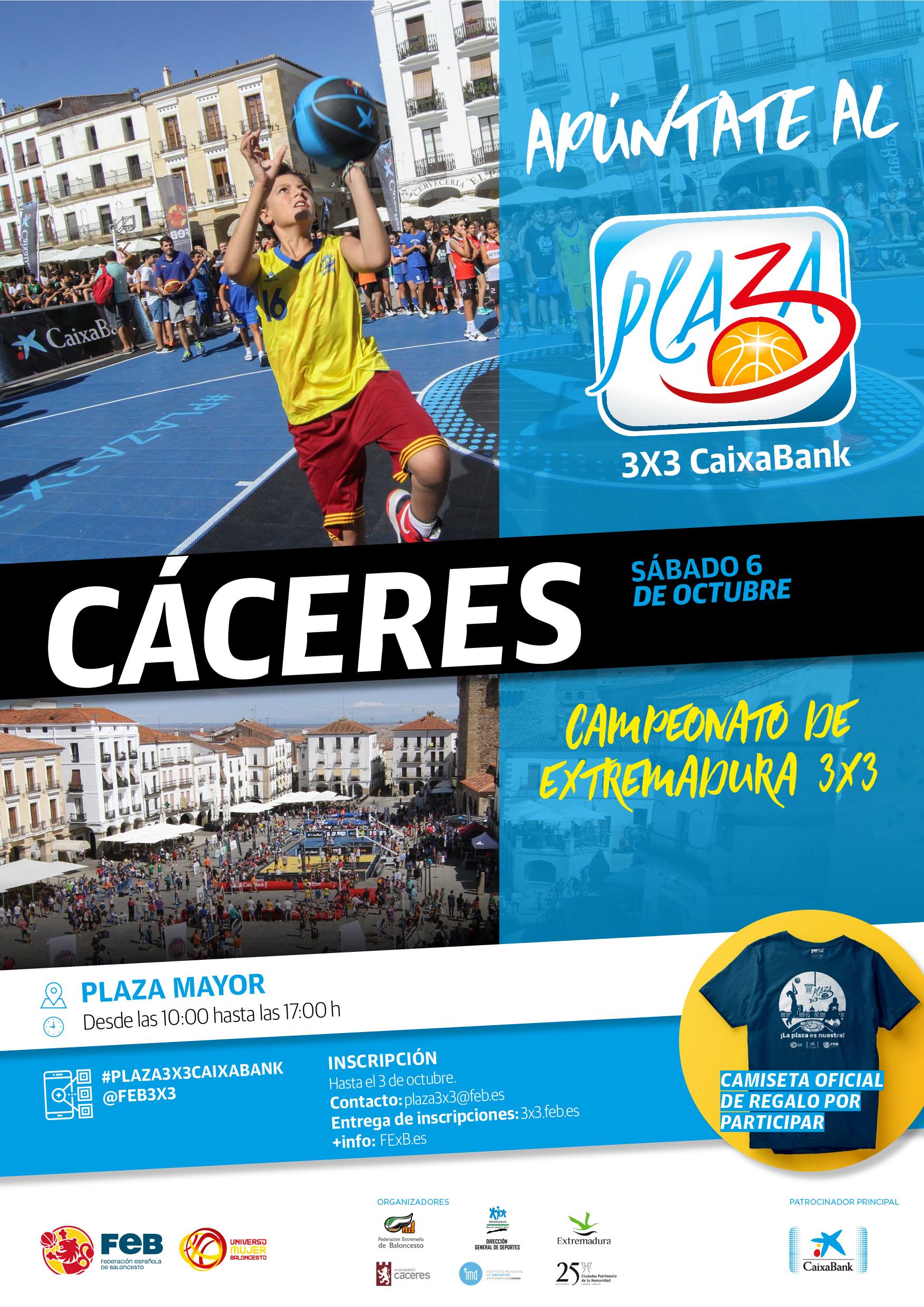 El Plaza 3x3 CaixaBank 2018 llega este sábado a la Plaza Mayor de Cáceres