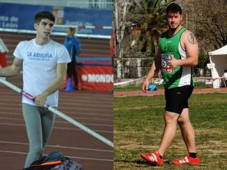 Roberto Fernández en el salto con pértiga y Jorge Gras en lanzamiento de peso