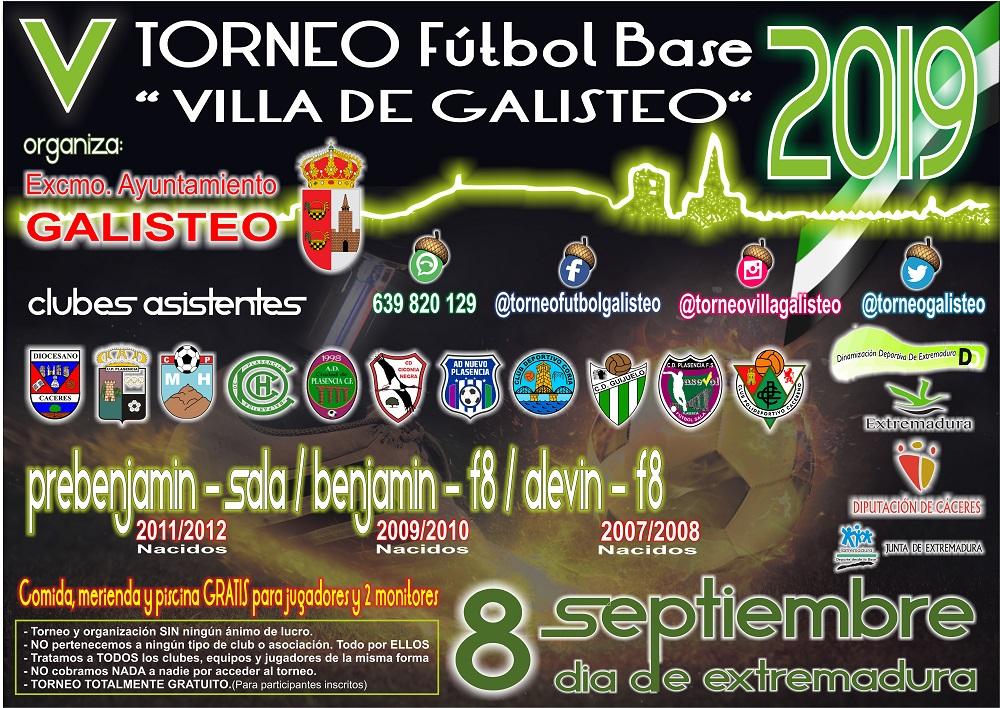 V Torneo de Fútbol Base Villa de Galisteo 2019, coincidiendo con el 8 de Septiembre Día de Extremadura