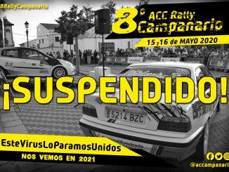El Automóvil Club Campanario comunica la suspensión del '8º Rally Campanario Interprovincial'