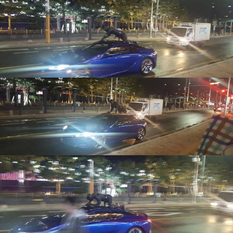 Pantera Negra aparece em cima de um carro em novas imagens e vídeos do set!