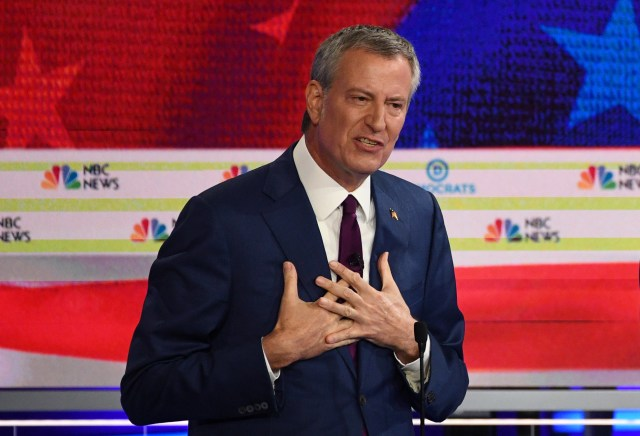 Democratic presidential hopeful Mayor of New York City Bill de Blasio participates in the first Democratic primary debate of the 2020 presidential campaign at the Adrienne Arsht Center for the Performing Arts in Miami, June 26, 2019.