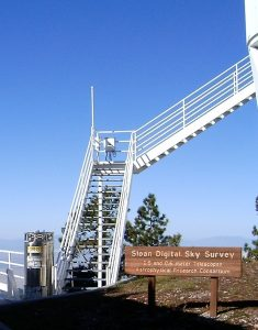 Stairs to two of the telescopes used in the Sloan Digital Sky Survey at APO.