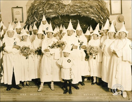 """KKK Wedding"" in Sedro Wooley, Washington, June 16, 1926. Photo: Skagit River Journal"