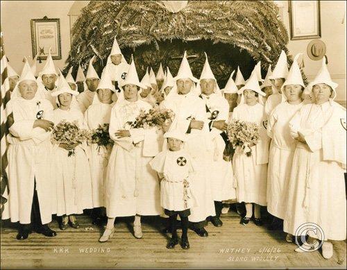 """KKK Wedding"" in Sedro Wooley, Washington, June 16, 1926. Photo: Skagit River Journal"