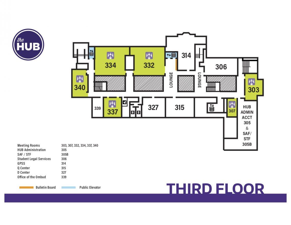 HUB Third Floor Map  The HUB