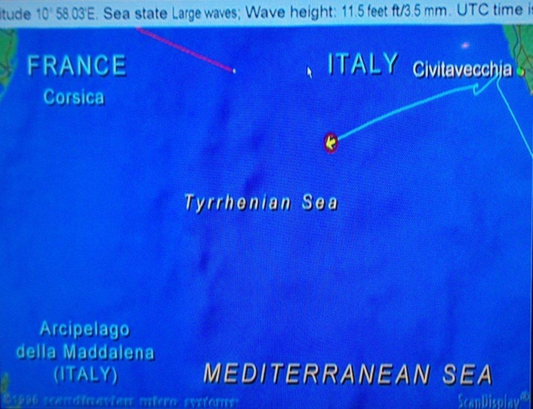 Navegando frente a Civitavecchia