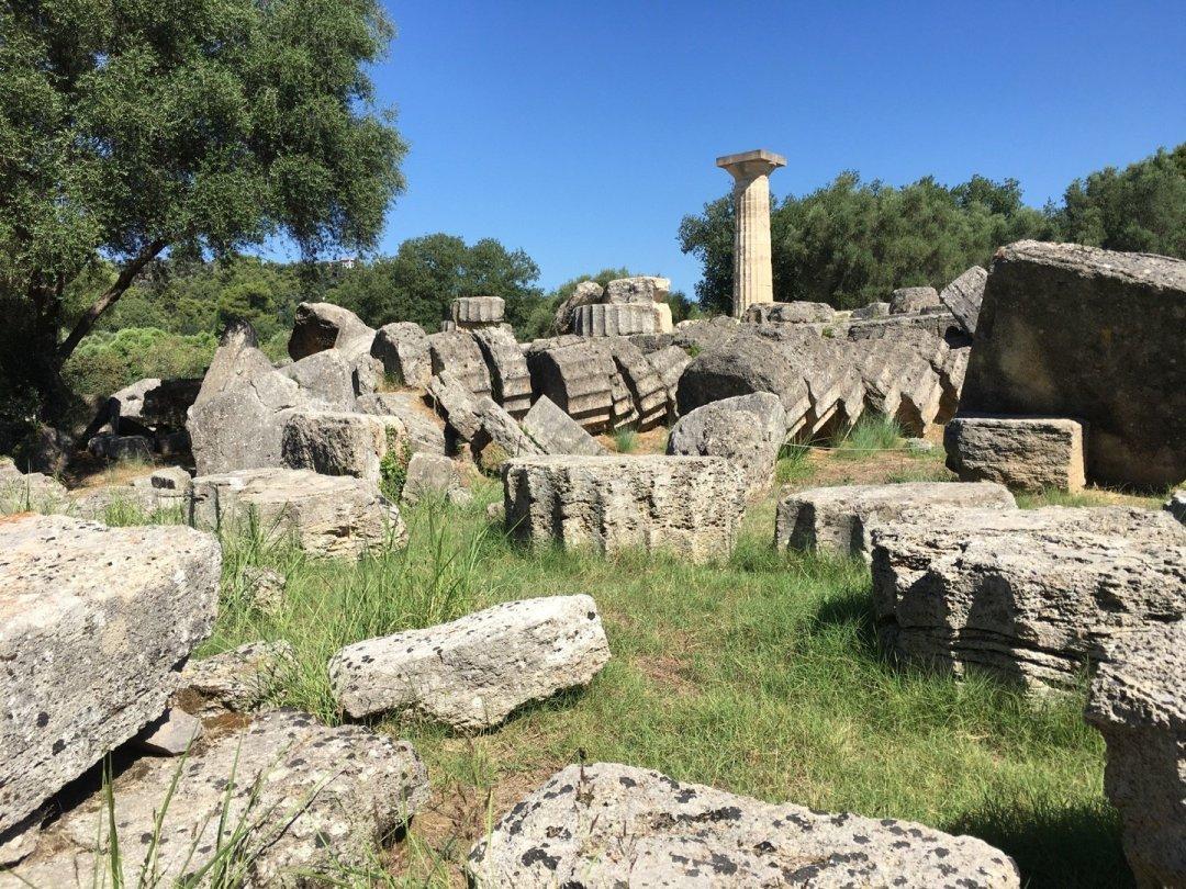 Ruinas del templo de Zeus, en Olimpia