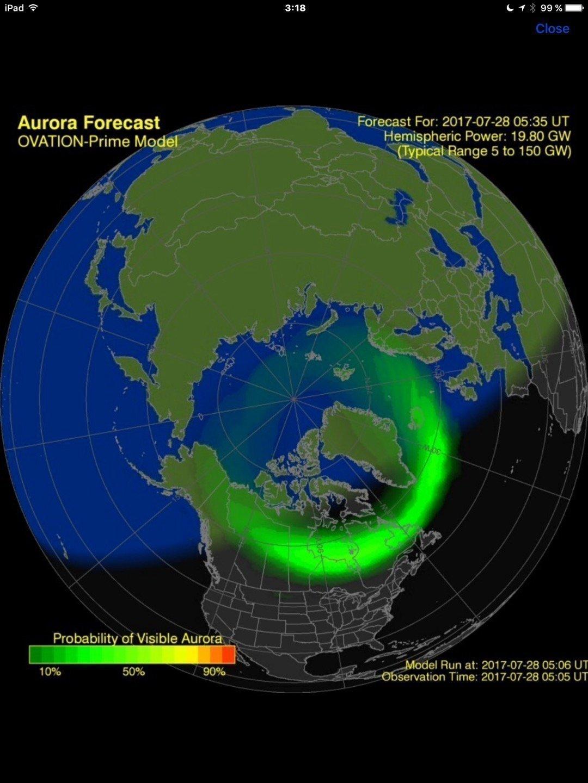 Alarma de aurora boreal