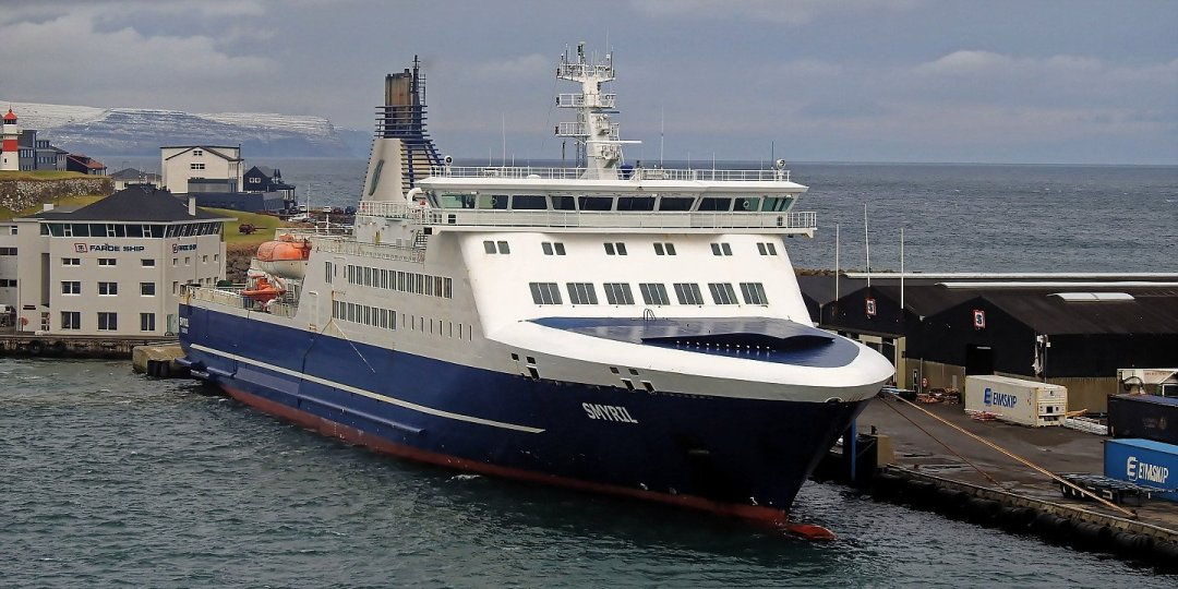 El Smyril atracado en Tórshavn