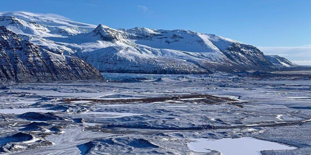 Svínafellsjökull y antiguas morrenas frente al Skaftafellsjökull