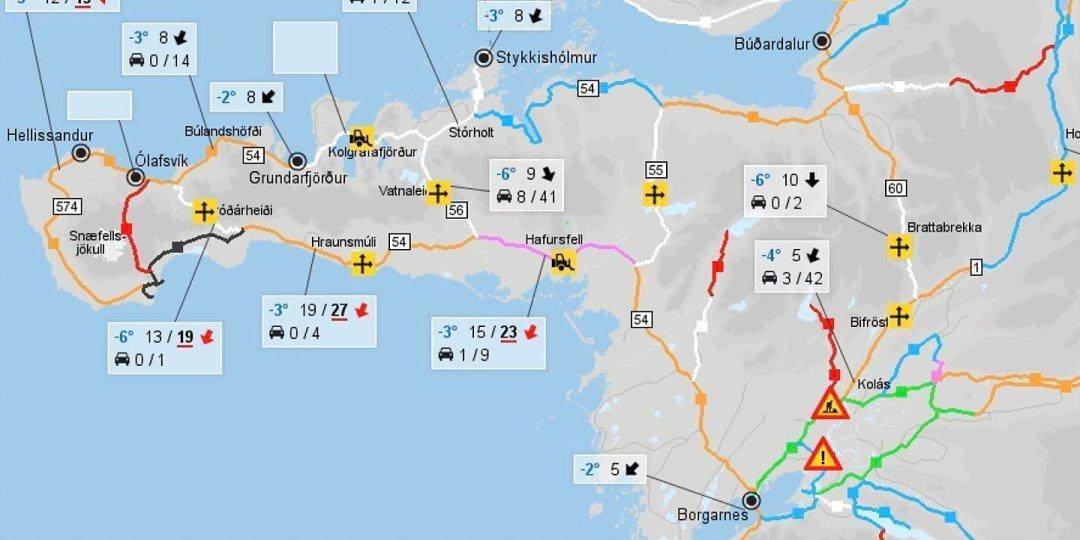 Estado de las carreteras en Snæfellsnes