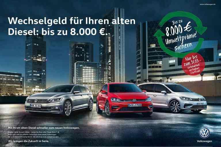 Alle Volkswagen-Volumenmarken verlängern Diesel-Prämie