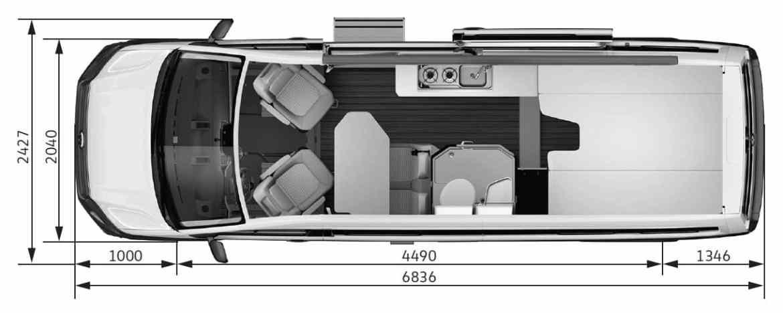 Grundriss des VW Grand California 680.