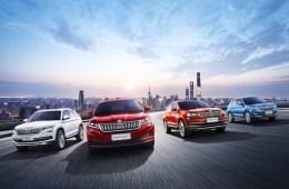 ŠKODA auf der Auto Shanghai 2019: China ist der einzige Markt weltweit, in dem ŠKODA gleich vier verschiedene SUV anbietet – ŠKODA KODIAQ, KODIAQ GT, KAROQ und KAMIQ (v.l.n.r.).