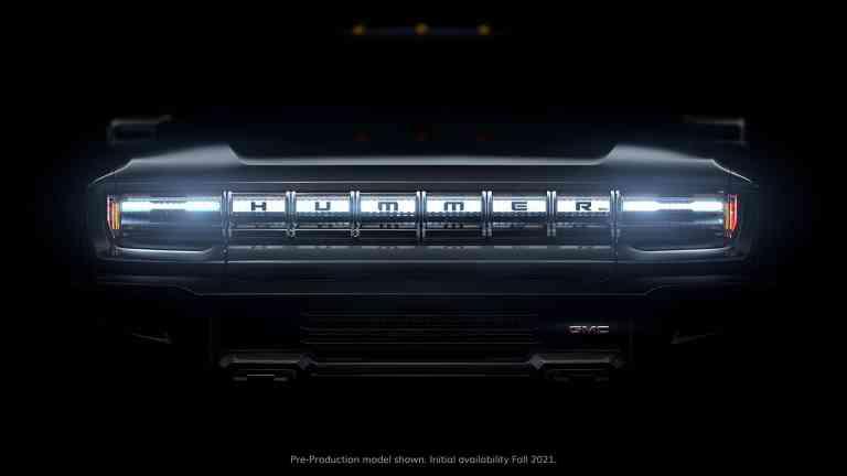 Mehr gibt es noch nicht zu sehen: GMC Hummer EV.
