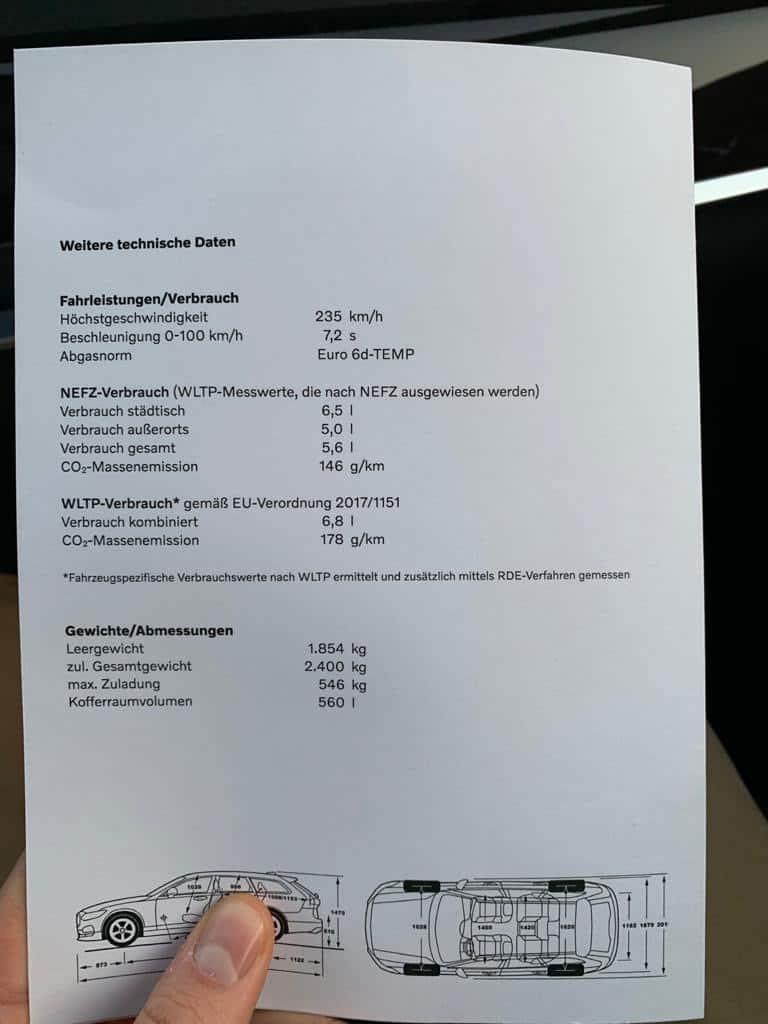 Volvo V90 MJ19 Technische Daten