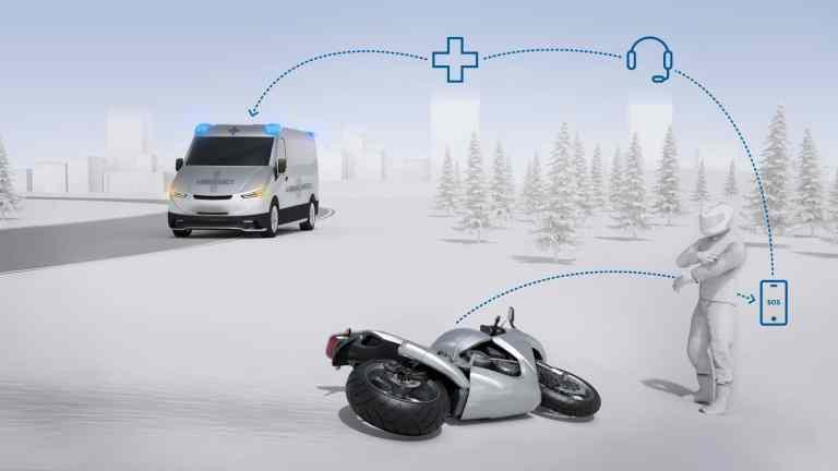 """Bosch nennt sein Notrufsystem für Motorradfahrer """"Help Connect""""."""