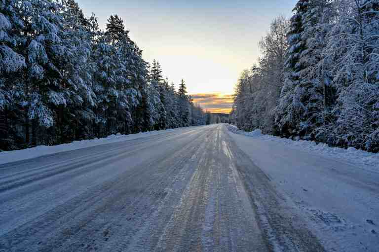 slippery icy winter road in Varmland Sweden