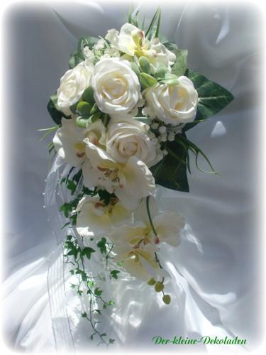 Brautstrau creme wei Wasserfall Hochzeit Tischdeko  eBay