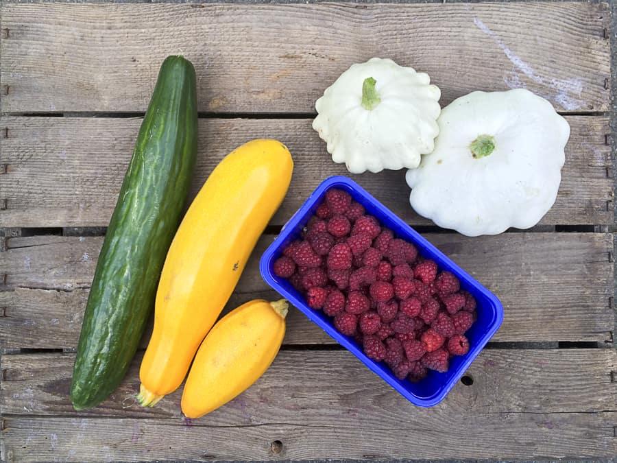Zucchini, Gurke, Patisson und Himbeeren