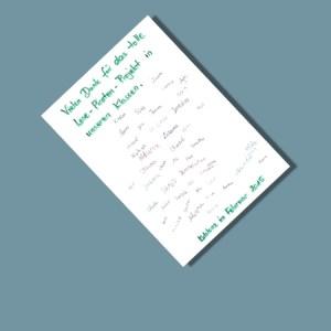 Der Lesemann: Focus-Bild zur Dank-Kartemit Unterschriften