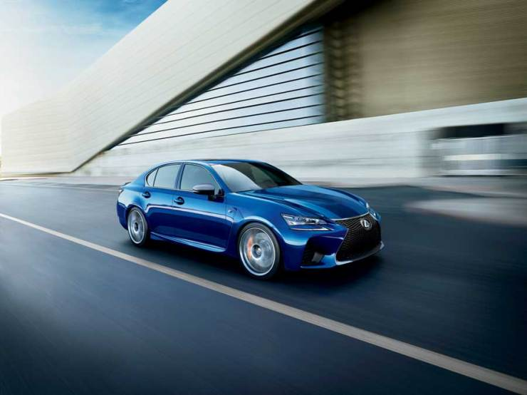 Lexus GSF in motion front right total
